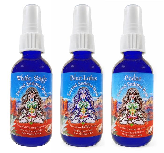 Sacred Sedona white Sage, Blue Lotus Love, and Cedar Myst sprays